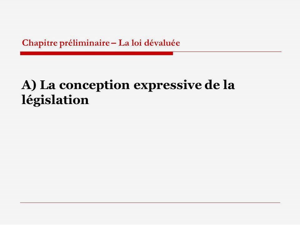 Chapitre préliminaire – La loi dévaluée A) La conception expressive de la législation