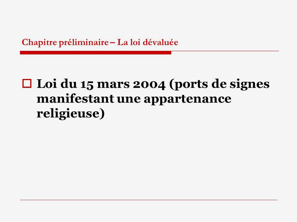 Chapitre préliminaire – La loi dévaluée Loi du 15 mars 2004 (ports de signes manifestant une appartenance religieuse)