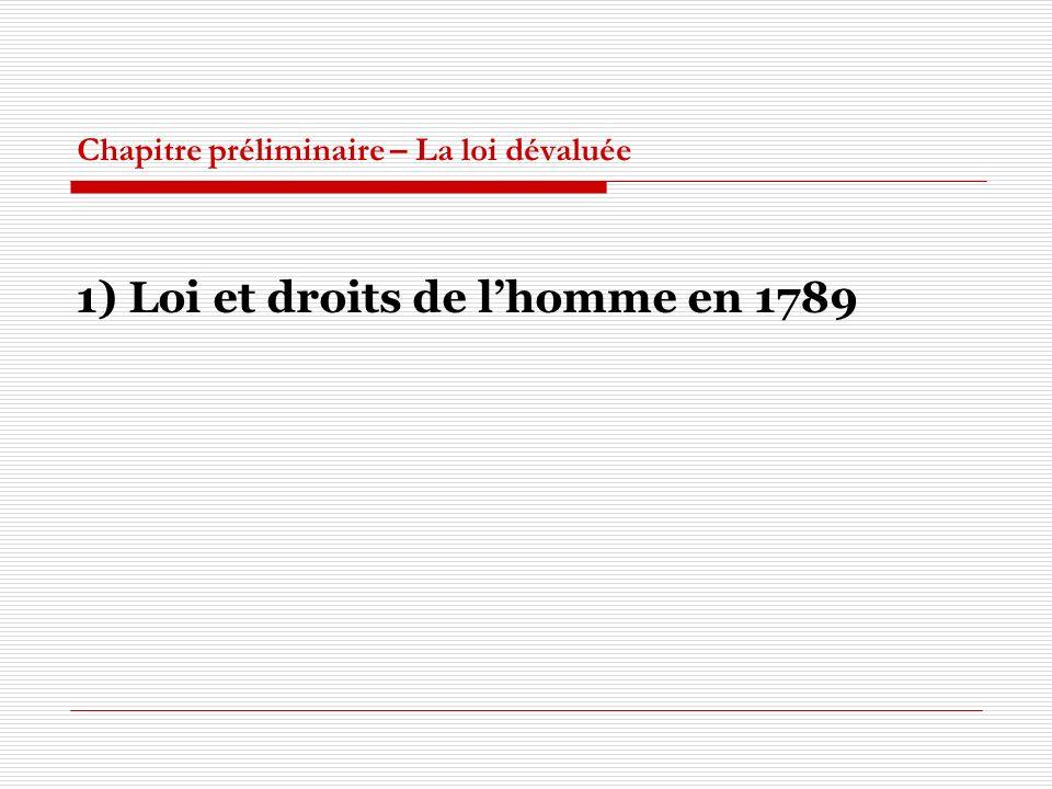 Chapitre préliminaire – La loi dévaluée 1) Loi et droits de lhomme en 1789