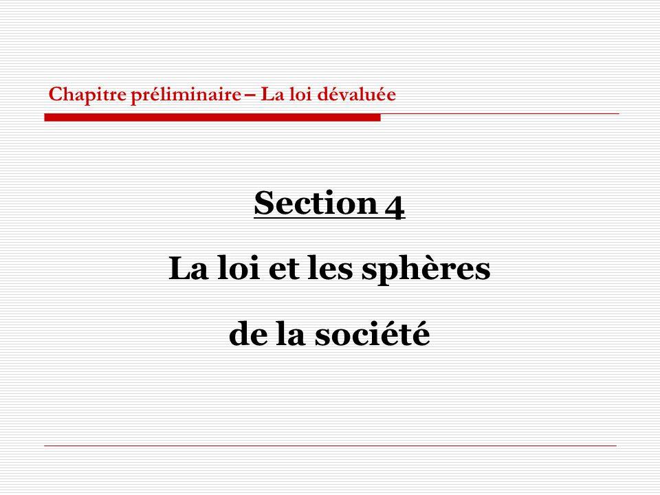 Chapitre préliminaire – La loi dévaluée Section 4 La loi et les sphères de la société