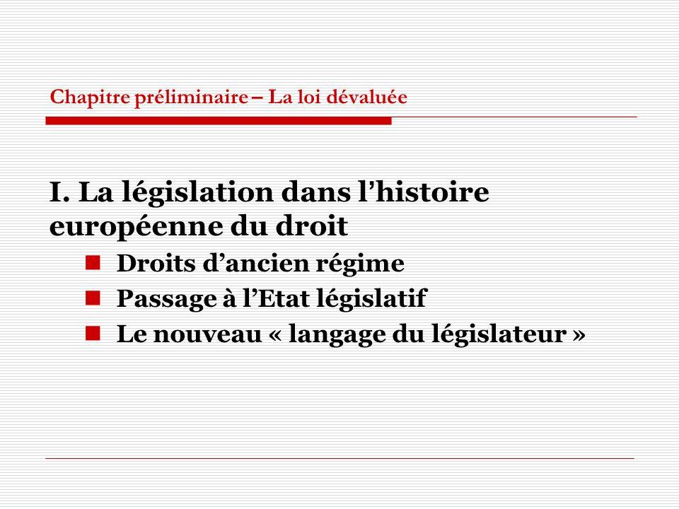 Chapitre préliminaire – La loi dévaluée I. La législation dans lhistoire européenne du droit Droits dancien régime Passage à lEtat législatif Le nouve