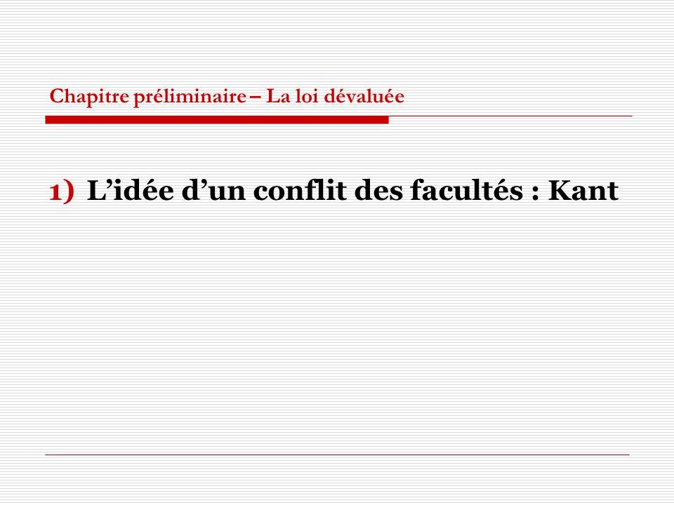 Chapitre préliminaire – La loi dévaluée 1)Lidée dun conflit des facultés : Kant