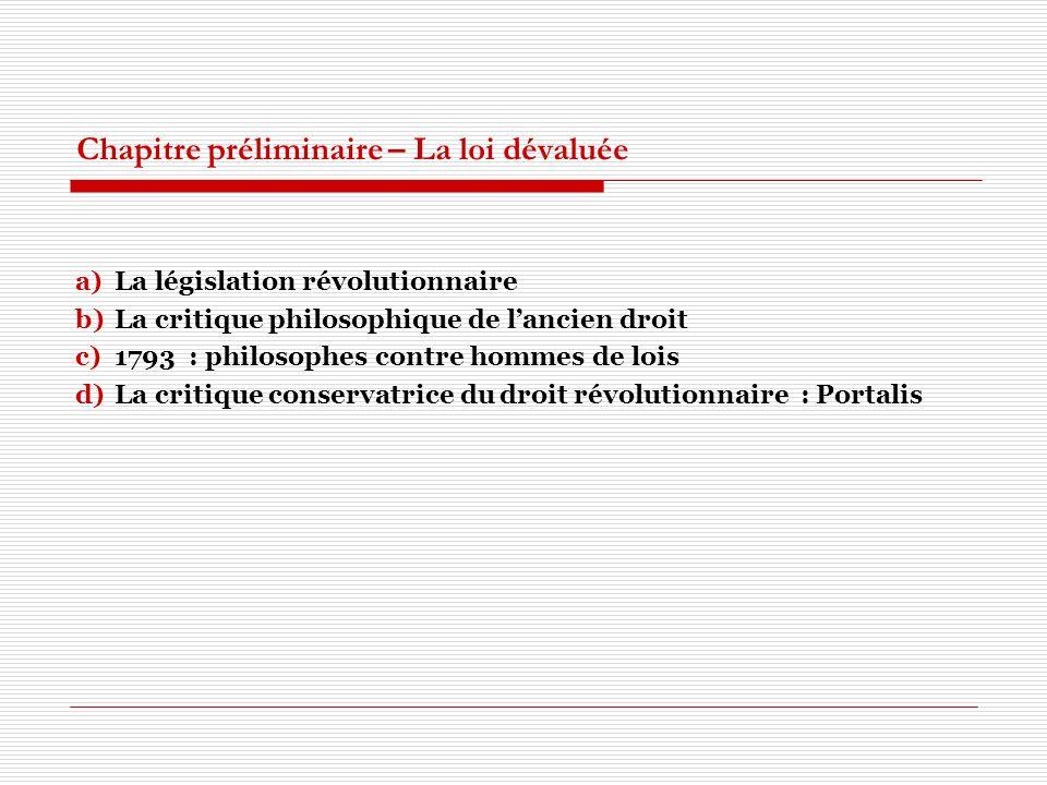 Chapitre préliminaire – La loi dévaluée a)La législation révolutionnaire b)La critique philosophique de lancien droit c)1793 : philosophes contre homm