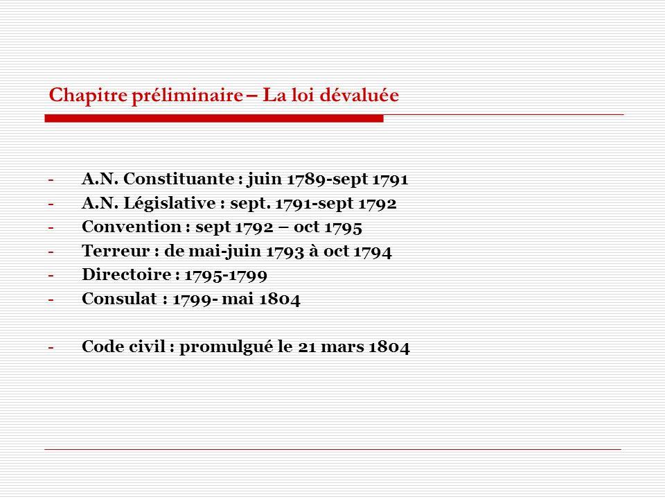 Chapitre préliminaire – La loi dévaluée -A.N. Constituante : juin 1789-sept 1791 -A.N. Législative : sept. 1791-sept 1792 -Convention : sept 1792 – oc