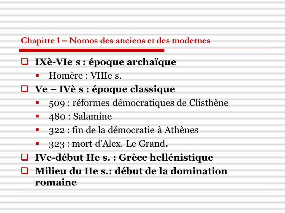 Chapitre 1 – Nomos des anciens et des modernes IXè-VIe s : époque archaïque Homère : VIIIe s. Ve – IVè s : époque classique 509 : réformes démocratiqu