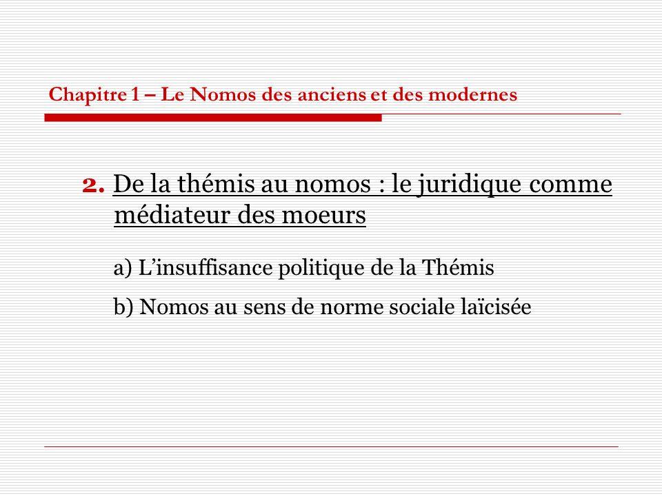Chapitre 1 – Le Nomos des anciens et des modernes 2. De la thémis au nomos : le juridique comme médiateur des moeurs a) Linsuffisance politique de la