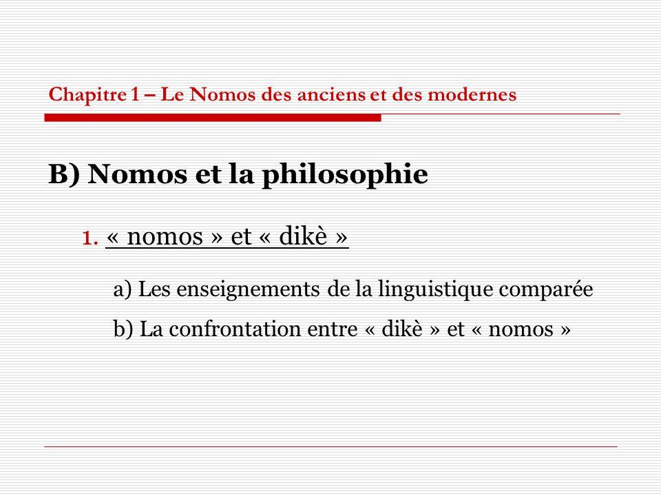 Chapitre 1 – Le Nomos des anciens et des modernes B) Nomos et la philosophie 1. « nomos » et « dikè » a) Les enseignements de la linguistique comparée