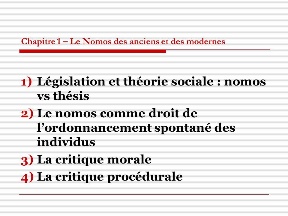 Chapitre 1 – Le Nomos des anciens et des modernes 1)Législation et théorie sociale : nomos vs thésis 2)Le nomos comme droit de lordonnancement spontan