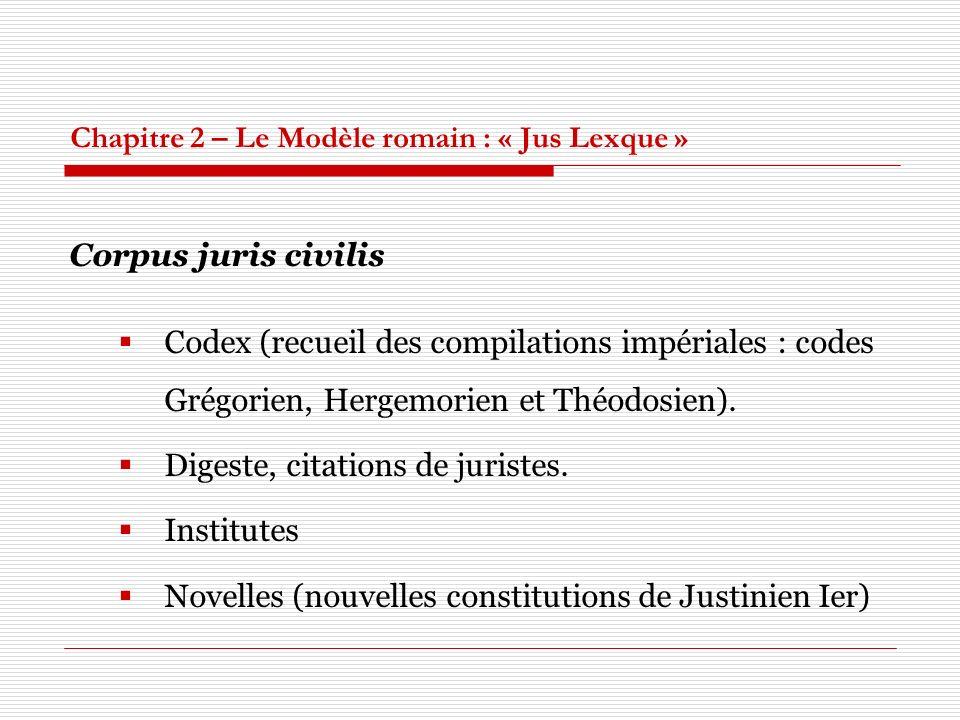 Chapitre 2 – Le Modèle romain : « Jus Lexque » Corpus juris civilis Codex (recueil des compilations impériales : codes Grégorien, Hergemorien et Théodosien).
