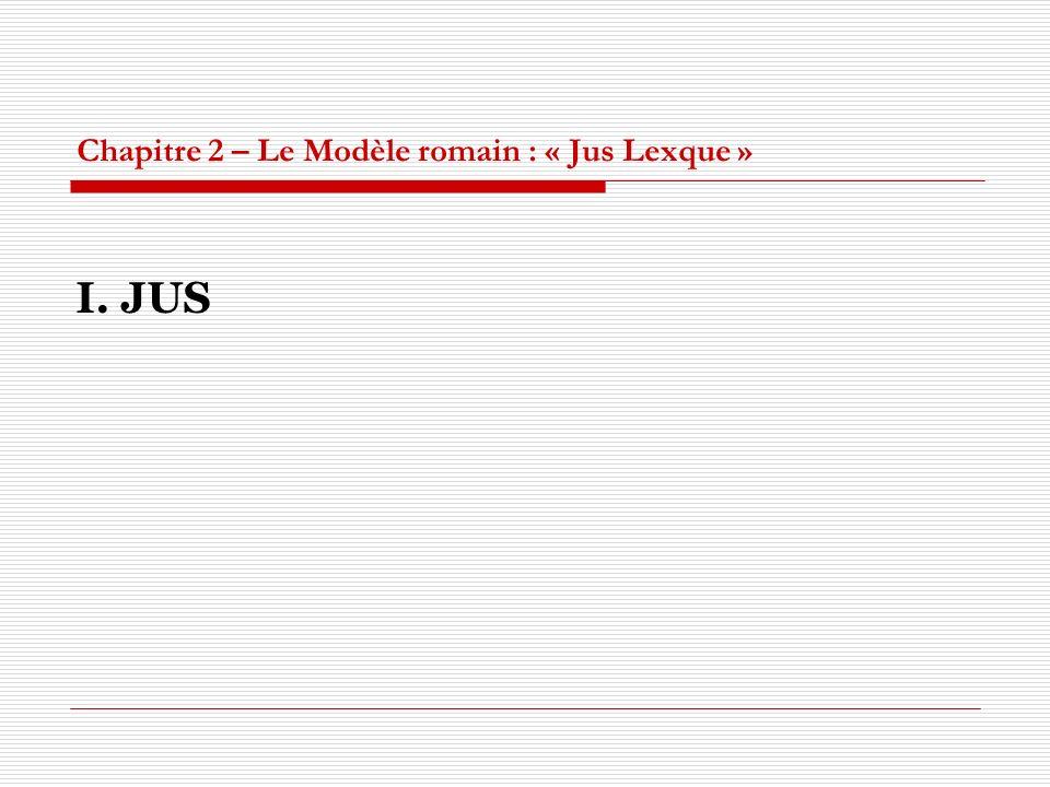 Chapitre 2 – Le Modèle romain : « Jus Lexque » I. JUS