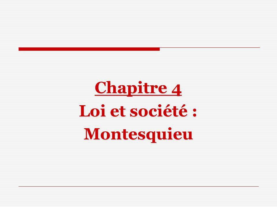 Chapitre 4 Loi et société : Montesquieu