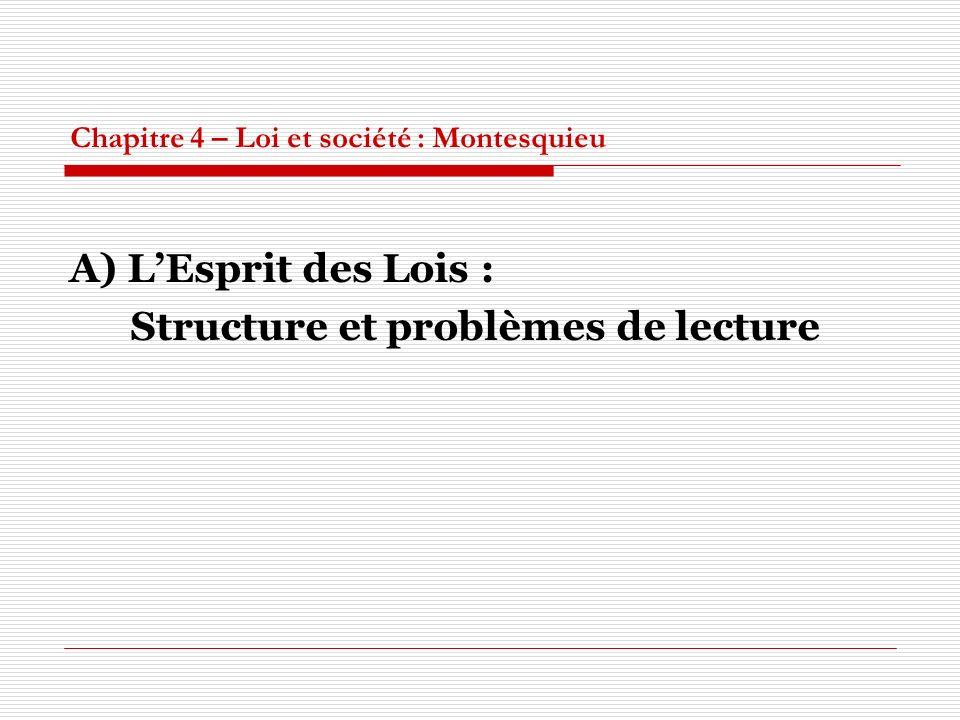 Chapitre 4 – Loi et société : Montesquieu A) LEsprit des Lois : Structure et problèmes de lecture