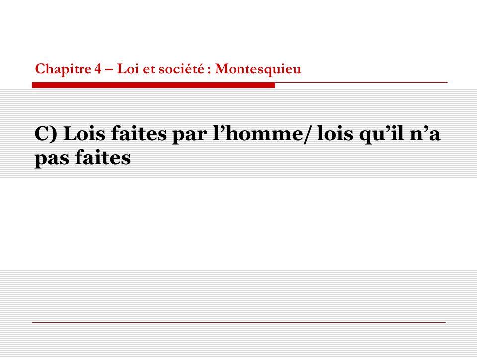 Chapitre 4 – Loi et société : Montesquieu C) Lois faites par lhomme/ lois quil na pas faites