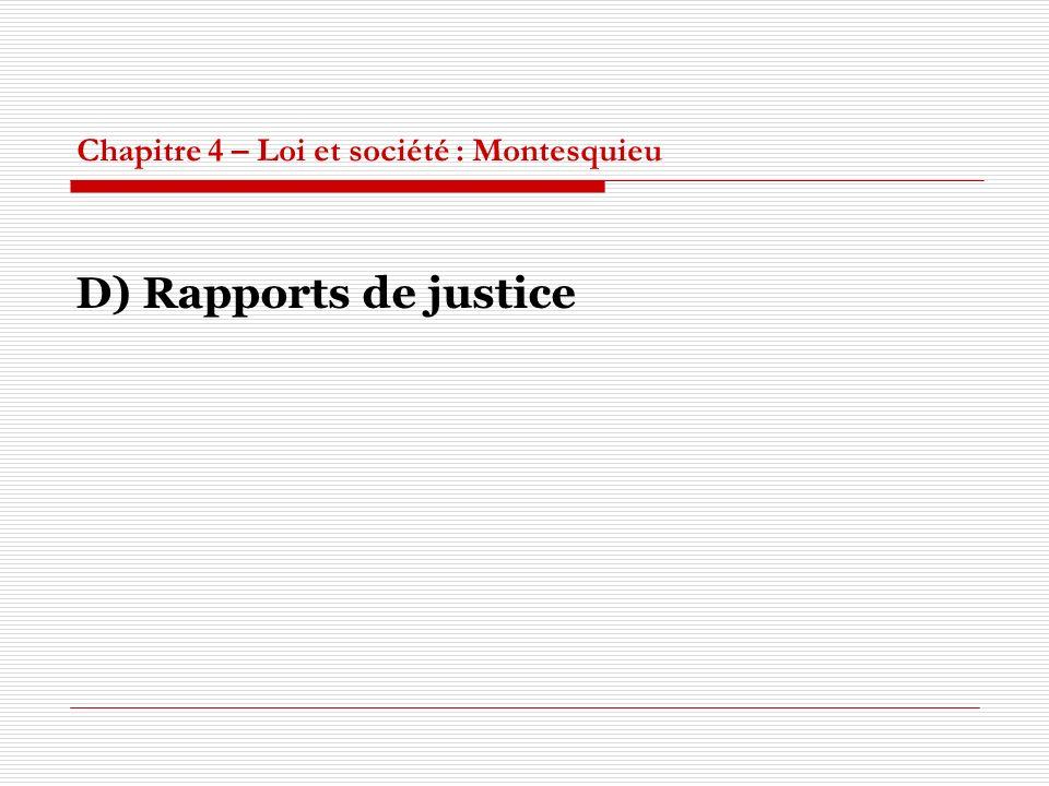 Chapitre 4 – Loi et société : Montesquieu D) Rapports de justice