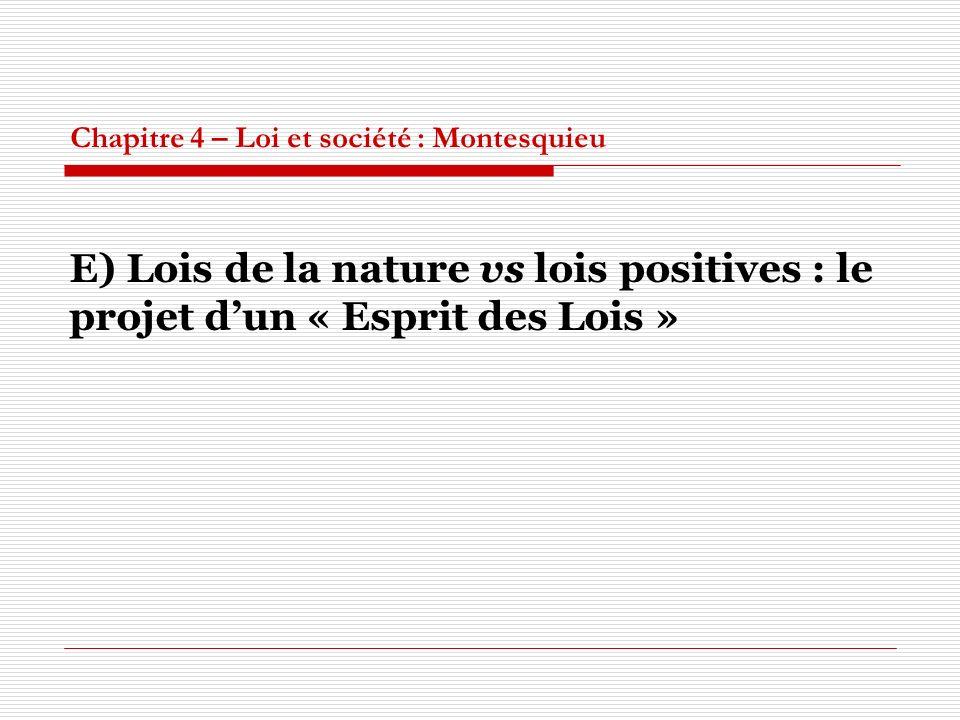 Chapitre 4 – Loi et société : Montesquieu E) Lois de la nature vs lois positives : le projet dun « Esprit des Lois »