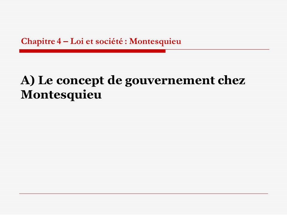 Chapitre 4 – Loi et société : Montesquieu A) Le concept de gouvernement chez Montesquieu