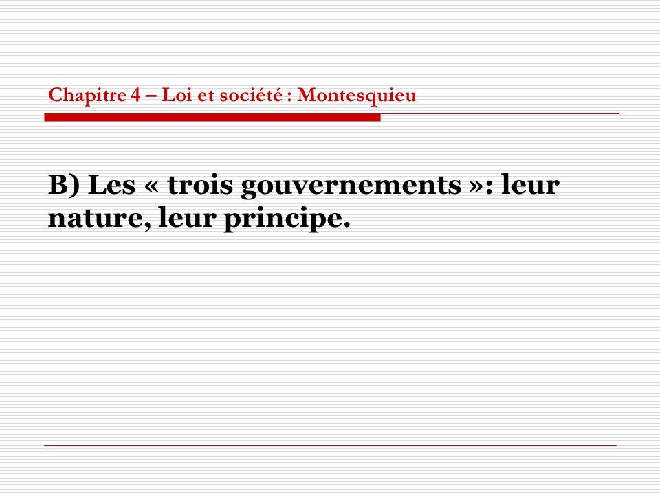 Chapitre 4 – Loi et société : Montesquieu B) Les « trois gouvernements »: leur nature, leur principe.