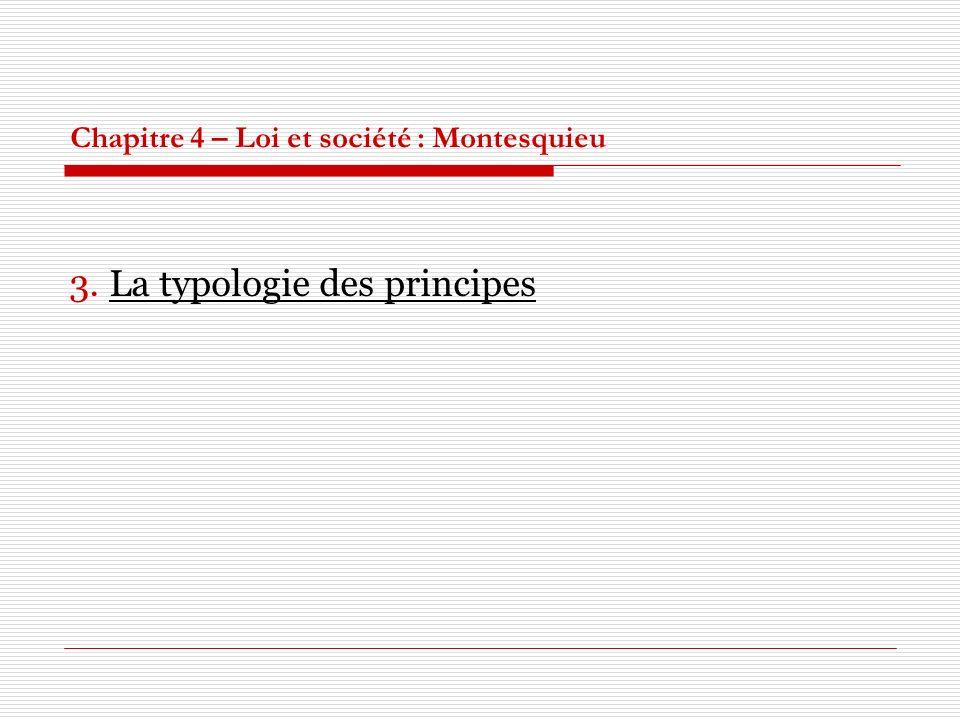 Chapitre 4 – Loi et société : Montesquieu 3. La typologie des principes