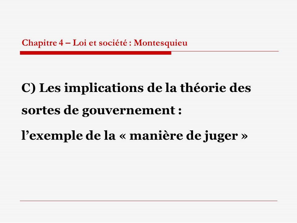 Chapitre 4 – Loi et société : Montesquieu C) Les implications de la théorie des sortes de gouvernement : lexemple de la « manière de juger »
