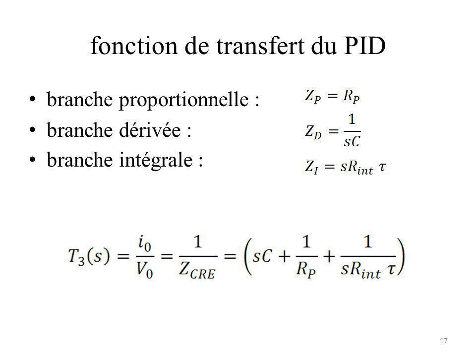fonction de transfert du PID branche proportionnelle : branche dérivée : branche intégrale : 17