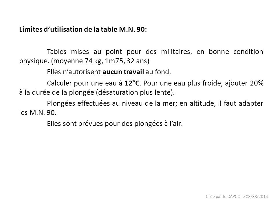 Crée par le CAPCO le XX/XX/2013 Limites dutilisation de la table M.N.