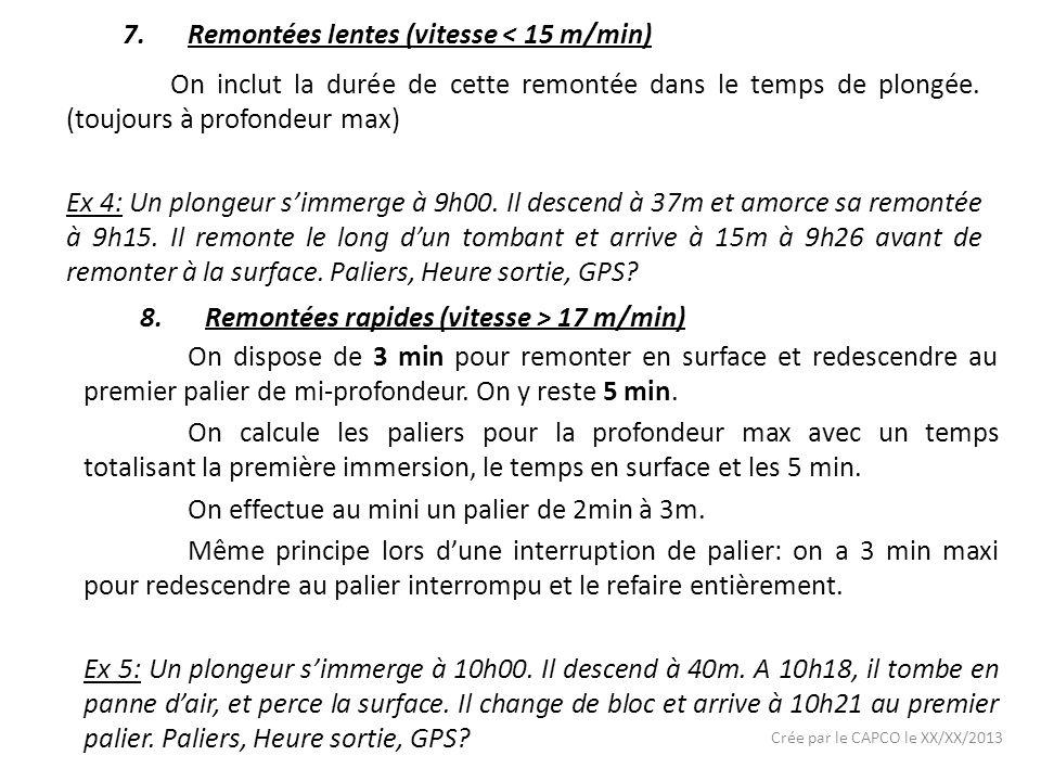 Crée par le CAPCO le XX/XX/2013 7.Remontées lentes (vitesse < 15 m/min) On inclut la durée de cette remontée dans le temps de plongée.