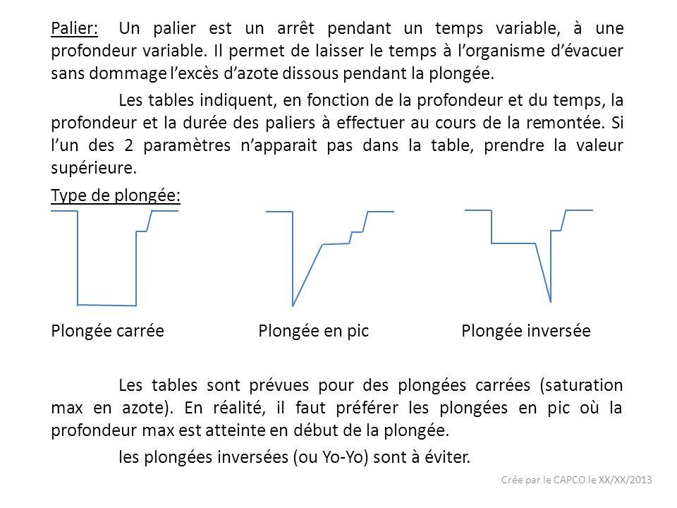 Crée par le CAPCO le XX/XX/2013 Palier:Un palier est un arrêt pendant un temps variable, à une profondeur variable.
