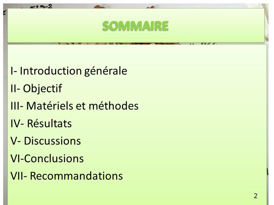 I- Introduction générale II- Objectif III- Matériels et méthodes IV- Résultats V- Discussions VI-Conclusions VII- Recommandations I- Introduction géné