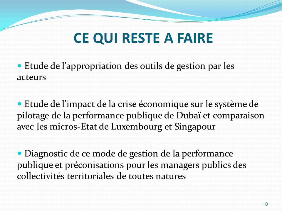 CE QUI RESTE A FAIRE Etude de lappropriation des outils de gestion par les acteurs Etude de limpact de la crise économique sur le système de pilotage