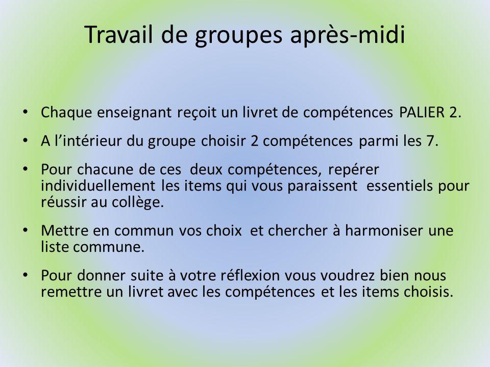 Travail de groupes après-midi Chaque enseignant reçoit un livret de compétences PALIER 2. A lintérieur du groupe choisir 2 compétences parmi les 7. Po
