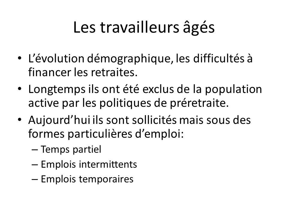 Les travailleurs âgés Lévolution démographique, les difficultés à financer les retraites.