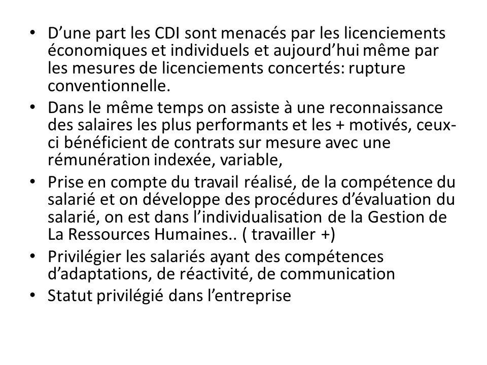 Dune part les CDI sont menacés par les licenciements économiques et individuels et aujourdhui même par les mesures de licenciements concertés: rupture conventionnelle.