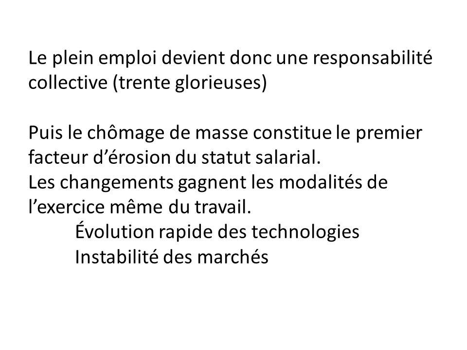 Le plein emploi devient donc une responsabilité collective (trente glorieuses) Puis le chômage de masse constitue le premier facteur dérosion du statut salarial.