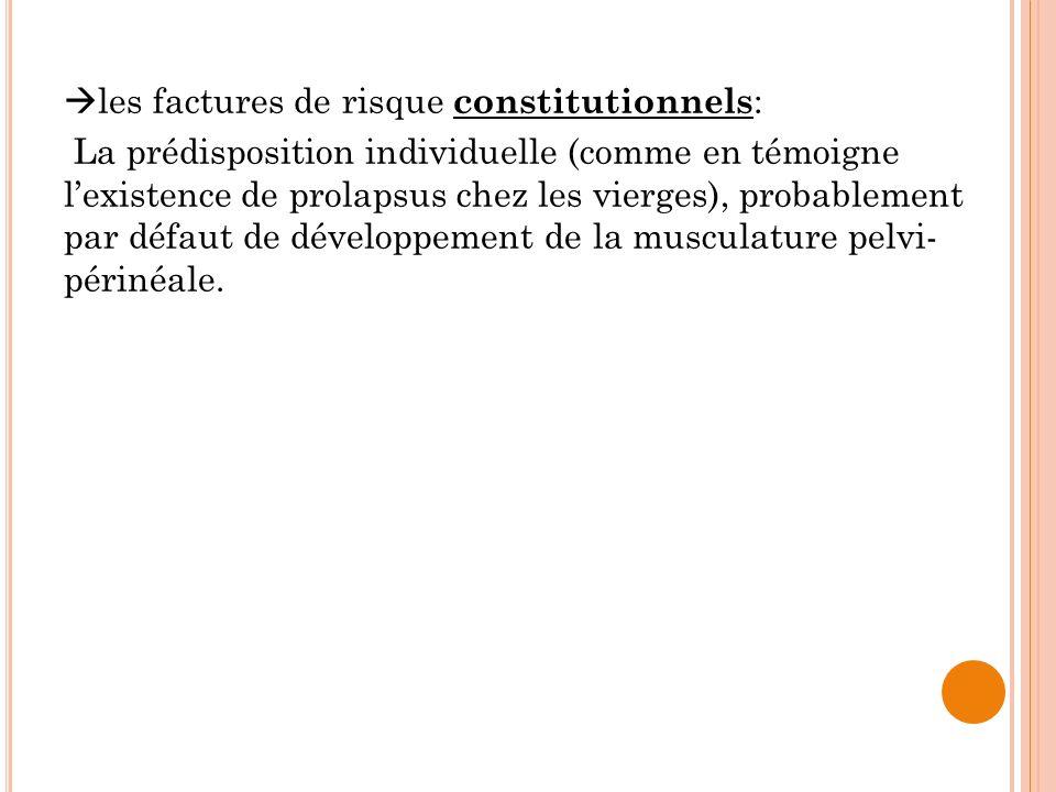 les factures de risque constitutionnels : La prédisposition individuelle (comme en témoigne lexistence de prolapsus chez les vierges), probablement pa