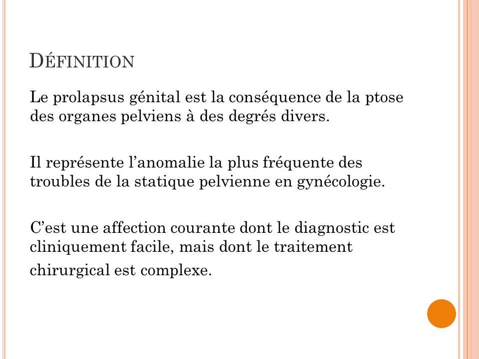D ÉFINITION Le prolapsus génital est la conséquence de la ptose des organes pelviens à des degrés divers. Il représente lanomalie la plus fréquente de