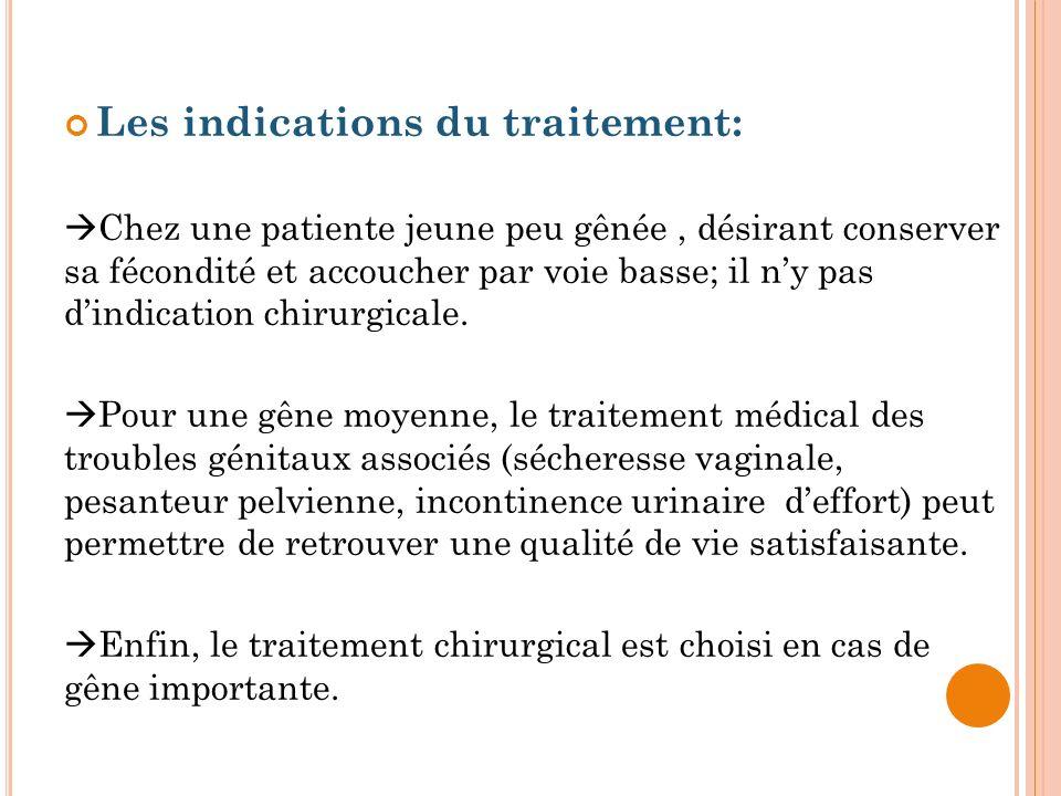 Les indications du traitement: Chez une patiente jeune peu gênée, désirant conserver sa fécondité et accoucher par voie basse; il ny pas dindication c