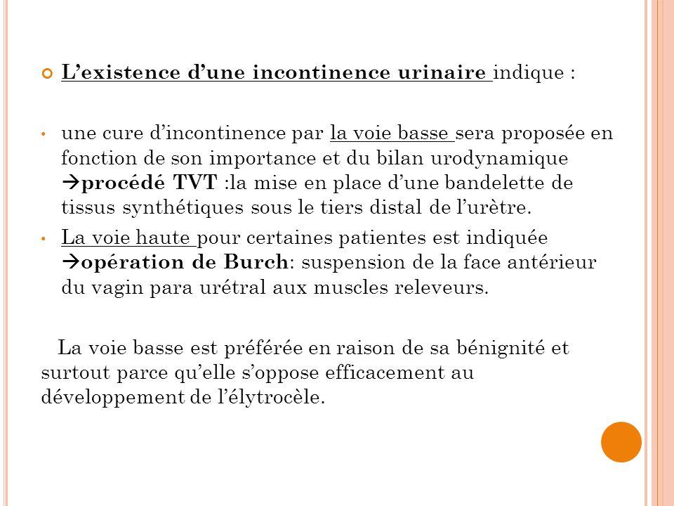 Lexistence dune incontinence urinaire indique : une cure dincontinence par la voie basse sera proposée en fonction de son importance et du bilan urody