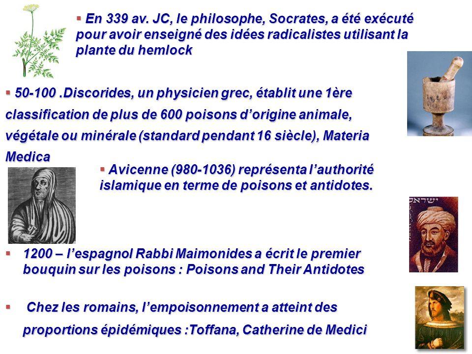 1200 – lespagnol Rabbi Maimonides a écrit le premier bouquin sur les poisons : Poisons and Their Antidotes 1200 – lespagnol Rabbi Maimonides a écrit l