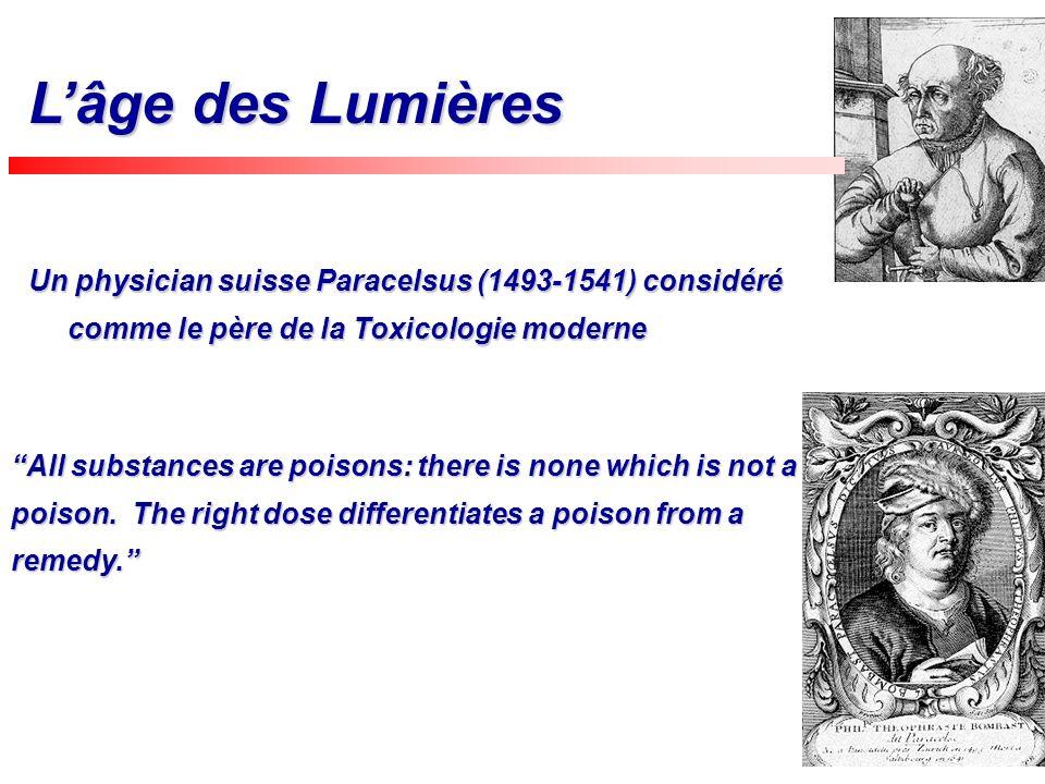 Un physician suisse Paracelsus (1493-1541) considéré comme le père de la Toxicologie moderne History Lâge des Lumières All substances are poisons: the