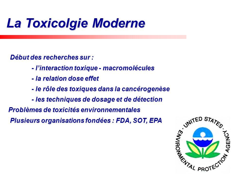 History La Toxicolgie Moderne Début des recherches sur : Début des recherches sur : - linteraction toxique - macromolécules - la relation dose effet -