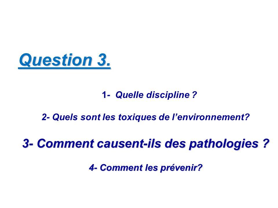 Question 3. 1- Quelle discipline ? 2- Quels sont les toxiques de lenvironnement? 3- Comment causent-ils des pathologies ? 4- Comment les prévenir?