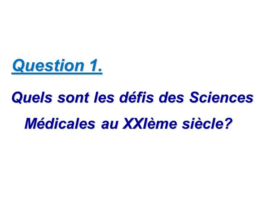 Question 1. Quels sont les défis des Sciences Médicales au XXIème siècle? Quels sont les défis des Sciences Médicales au XXIème siècle?