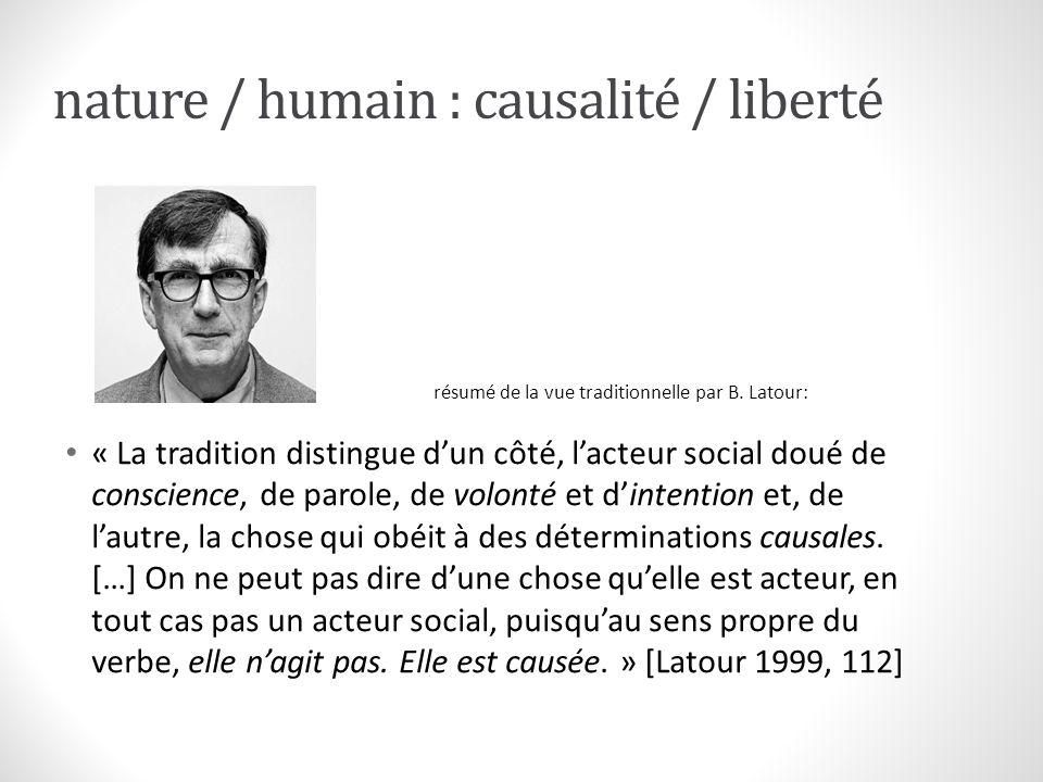 nature / humain : causalité / liberté « La tradition distingue dun côté, lacteur social doué de conscience, de parole, de volonté et dintention et, de
