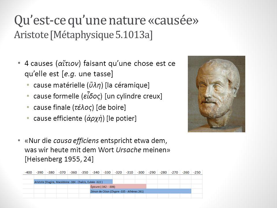 Quest-ce quune nature «causée» Aristote [Métaphysique 5.1013a] 4 causes (ατιον) faisant quune chose est ce quelle est [e.g. une tasse] cause matériell