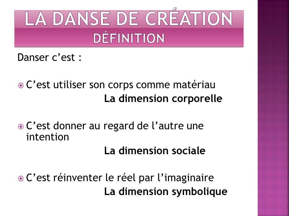 Danser cest : Cest utiliser son corps comme matériau La dimension corporelle Cest donner au regard de lautre une intention La dimension sociale Cest r