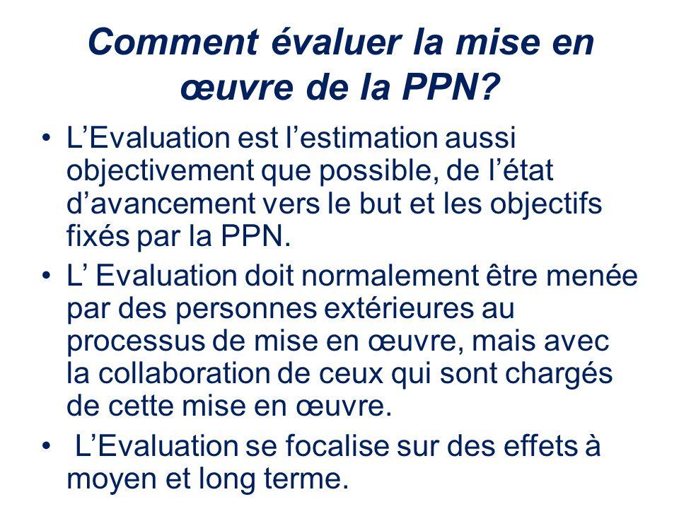 Comment évaluer la mise en œuvre de la PPN? LEvaluation est lestimation aussi objectivement que possible, de létat davancement vers le but et les obje