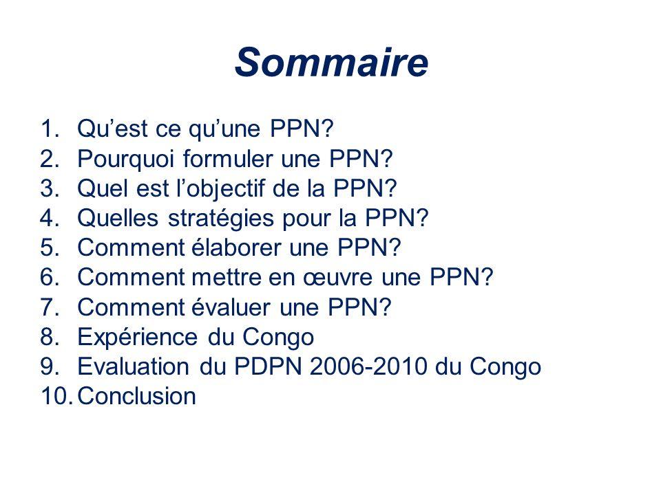 Sommaire 1.Quest ce quune PPN? 2.Pourquoi formuler une PPN? 3.Quel est lobjectif de la PPN? 4.Quelles stratégies pour la PPN? 5.Comment élaborer une P