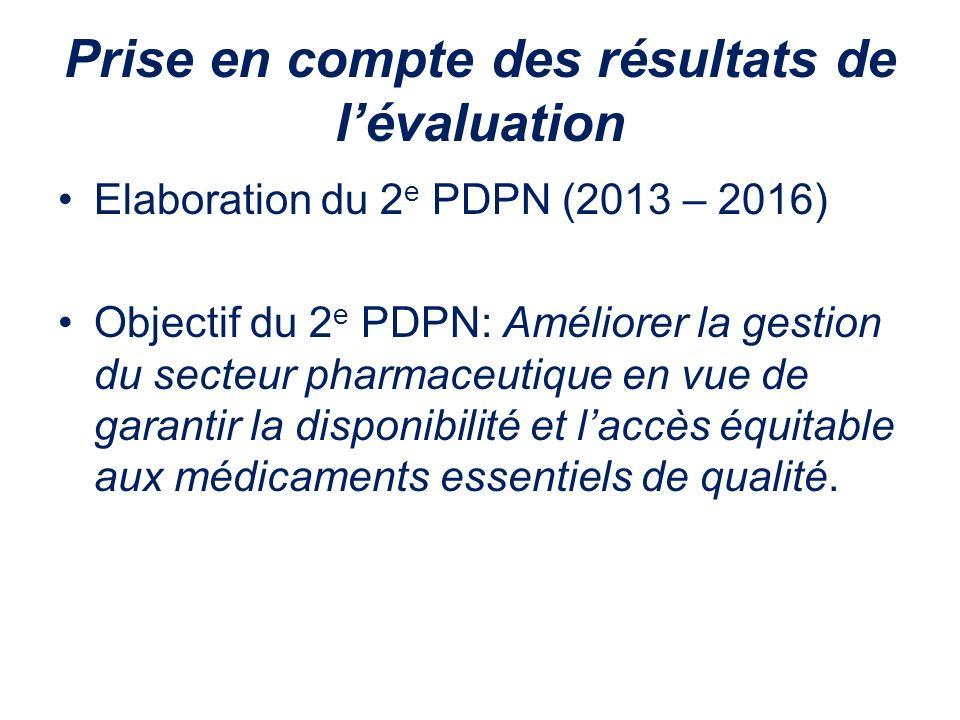 Prise en compte des résultats de lévaluation Elaboration du 2 e PDPN (2013 – 2016) Objectif du 2 e PDPN: Améliorer la gestion du secteur pharmaceutiqu