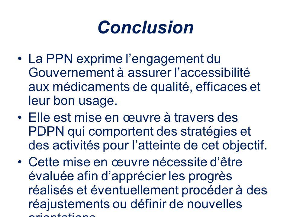 Conclusion La PPN exprime lengagement du Gouvernement à assurer laccessibilité aux médicaments de qualité, efficaces et leur bon usage. Elle est mise