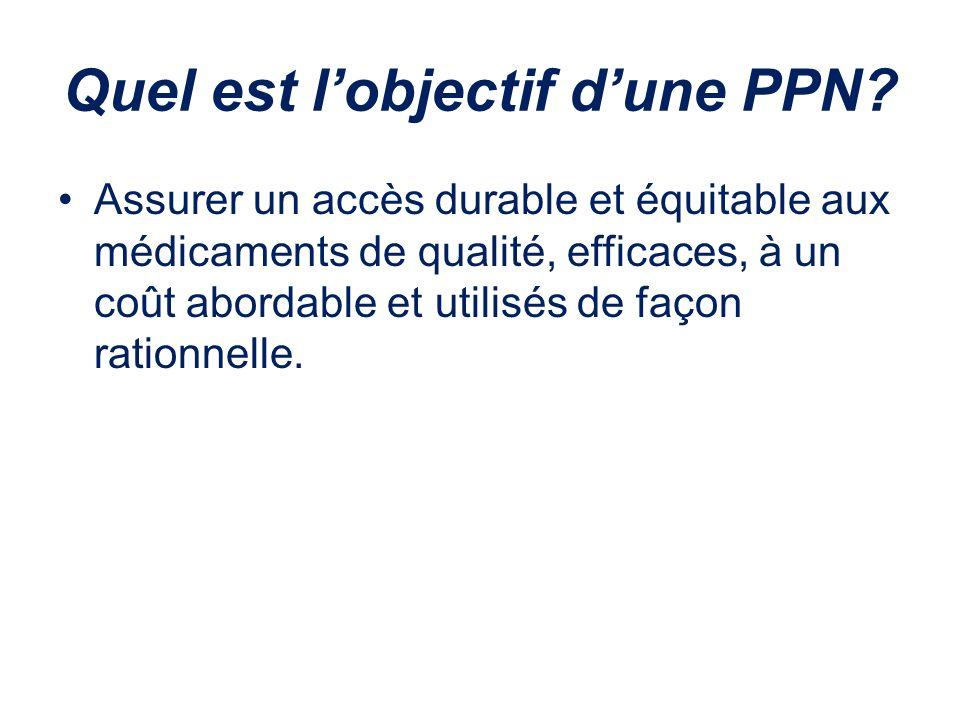 Quel est lobjectif dune PPN? Assurer un accès durable et équitable aux médicaments de qualité, efficaces, à un coût abordable et utilisés de façon rat